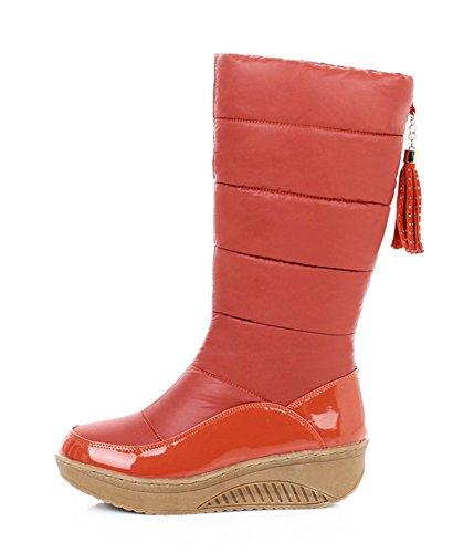Aisun Womens Warme Waterdichte Ronde Neus Dikke Zool Platform Slip Op Lage Hakken Jurk Half Kalf Snowboots Schoenen Oranje