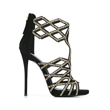 LvYuan Mujer-Tacón Stiletto-Otro-Sandalias-Oficina y Trabajo Vestido Informal Fiesta y Noche-Vellón-Negro Black