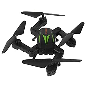 F12W 2.4G 6-Axis Altitude Hold HD Camera WIFI FPV RC Quadcopter Drone Selfie Foldable with Remote Control Headless Mode Altitude Hold Good Choice for Drone Training by DM (Green)