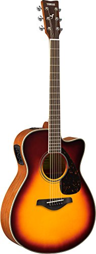 Yamaha FSX820C Small Body Solid Top Cutaway Acoustic-Electric Guitar, Brown - Concert Cutaway Acoustic Guitar Electric