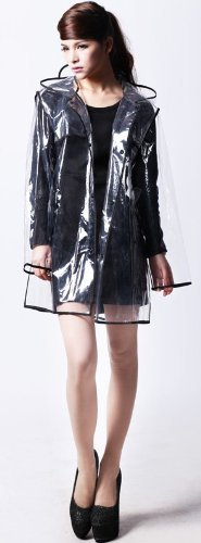 ransparent with Colorful Edge Fashion Raincoat (Black(Short Style)) (Clear Rain Jacket)
