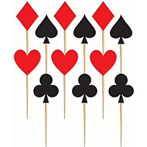 Casino Card Suit Wood Party Picks Package of 48
