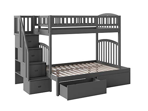 Atlantic Furniture AB65749 Westbrook Staircase Bunk Bed with Urban Bed Drawers, Twin/Full, Grey