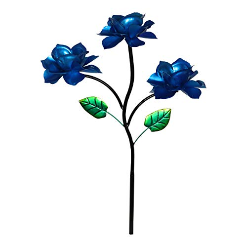 - Exhart Three Blue Roses Wind Spinner Garden Stake - Rose Flower Spinners Hand Painted in Metallic Blue & Green Colors - Fade-Resistant Metal Rose Pinwheels - Kinetic Art Flower Décor 20