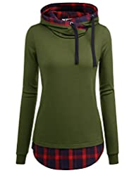 DJT Women's Funnel Neck Check Contrast Pullover Hoodie Top