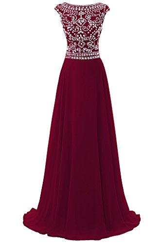 Dresstore Women's Long Chiffon Bridesmaid Dress Cap Sleeves Beaded Prom Eveing Gown Dark Red US 16 (Gown Chiffon Beaded)