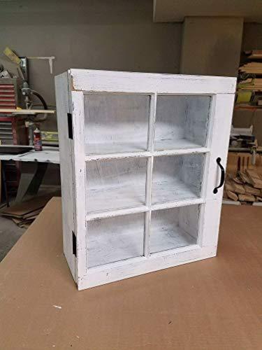 bathroom storage cabinet - wooden medicine cabinet - 6 pane wood window medicine cabinet - over the toilet storage - curio cabinet - rustic bathroom decor - wood window frame - wood window pane ()
