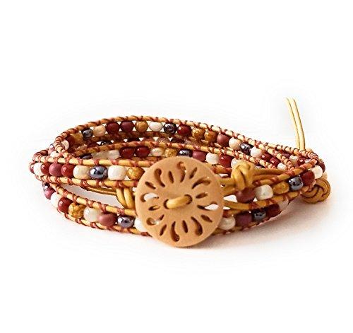 Earth Tone Autumn Color Beaded Leather Triple Wrap Bracelet