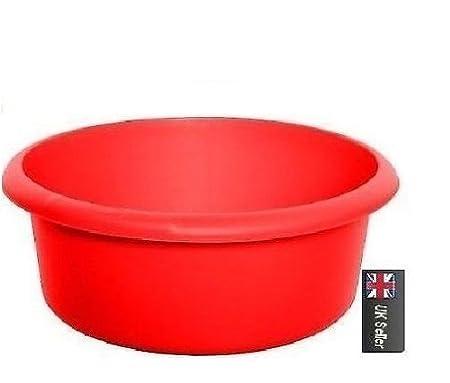 Plastic Round 34cm Washing Up BOWL Kitchen Sink Bowl   RED