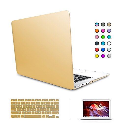 """SUNKY MacBook Newest Pro 15 Case, Soft-Touch Series Plastic Hard Case Cover + Keyboard Skin + HD Screen Protector for Macbook Pro 15-inch 15"""" 2016 Release with Touch Bar and Touch ID - Gold -  MACCASE227"""