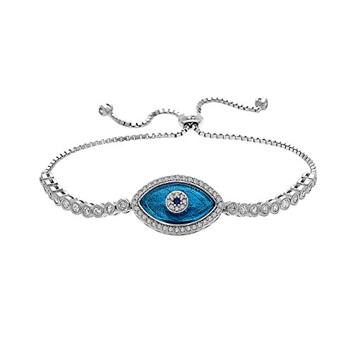 Crush & Fancy Blue Crystal Evil Eye Bracelet for Women | 925 Sterling Silver Greek Evil Eye Charm Bracelet with Crystals | Adjustable Length Fits All | Eliana by Crush & Fancy