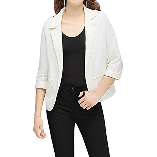 Lrud Women's Fashion Cotton Rolled up 3/4 Sleeve Slim Office Blazer Jacket Suits