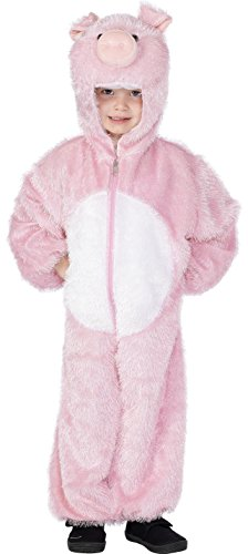 Smiffy's Children's Unisex All In One Pig Costume, Jumpsuit with Hood, Party Animals, Ages 7-9, Color: Pink, 30784