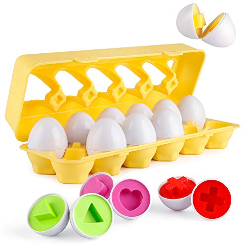 Coogam Matching Eggs 12 pcs Set Color & Shape Recoginition Sorter Puzzle for Easter Travel Bingo Game Early Learning Educational Fine Motor Skill Montessori Gift for 1 2 3 Years Old Toddlers Baby Kids