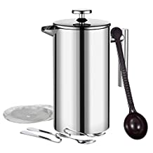 Homitt French Coffee Press,34oz Double Wall Stainless Steel, Screens Filters, No Grounds Coffee Tea Maker Bonus with Coffee Measuring Spoon, 2 Stainless Steel Mixing Spoon, 2 more Additional Filter Screens
