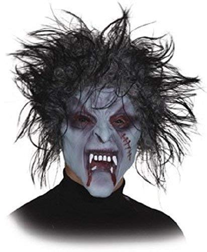 Adults Mens Ladies Creepy Scary Zombie Latex Full Face Scarred with Hair Halloween Horror Fancy Dress Costume Outfit Accessory Mask]()