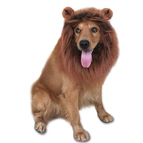 Lion's Mane Dog Costume (GABOSS Lion Mane Costume, Dog Lion Wig for Dog Pet Festival Party Fancy Hair Dog Clothes (Dark Brown with Ear), Large)