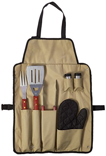 Chefs Kitchen 82-4308 7-Piece Outdoor BBQ Apron and Utensil Set ()