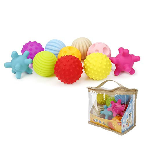 (Newdanceus New Package 10pcs Sensory Balls Plastic Soft & Textured Balls Squeezy Squishy Bouncy Fidget Multi-Shape Toys with Bright Colors and Sounds for Baby Toddler BPA)