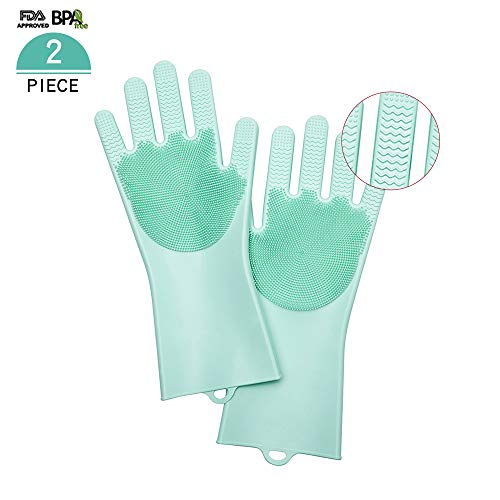 Silicone New Design (Multifunctional silicone Dishwashing Gloves-Double sided Brush Gloves,New Design,Gloves for Kitchen, Bathroom,Car and Pet,Protection for your beautiful hands (green))