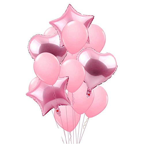 Noon-Sunshine decorative-plaques 14PCS Mixed Pink Birthday Balloon Blueations,14pcs Pink -