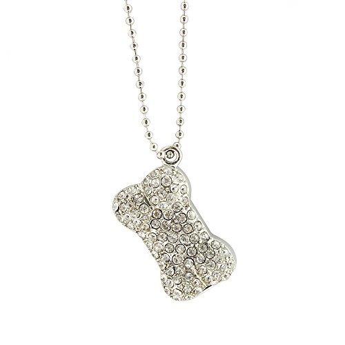 CHUYI Stylish Necklace Diamond Jewelry Dog Bone Shape 8GB US