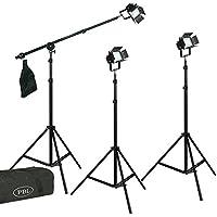LED Photo Photography Video 3 Light Kit Boom Barndoors Boom Carry Case Steve Kaeser Photographic Lighting