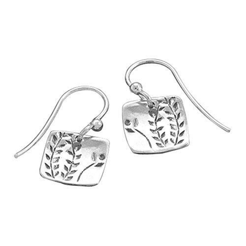 Fern Vine Design Sterling Silver Small Square Tag Dangle Earrings (Design Sterling Square Silver)