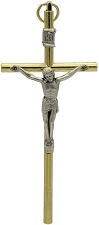 Wand-Kreuz Kruzifix mit Ornamenten aus Gußeisen