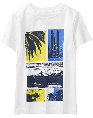 Crazy 8 Boys' Little Short Sleeve Crewneck Graphic Tee, White surf Beach Blocks, XS ()