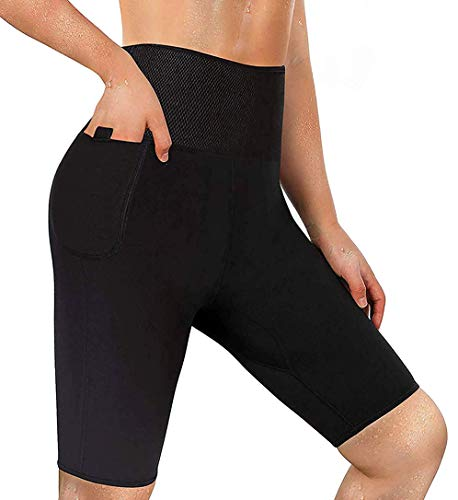 LODAY Neoprene Sauna Shorts with Pocket for Women Weight Loss Sweat Pants Workout Body Shaper Yoga Leggings (Black, 2XL)