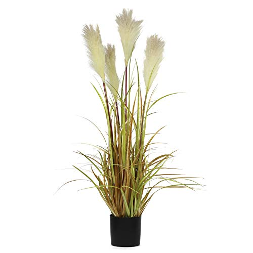 "NCYP 35.4"" Tall Artificial Plants for Home Decor Indoor Outdoor Natural Large Faux Fake Potted Plants with Black Planter Pot Office Floor Decorative Reed Grasses Gift"