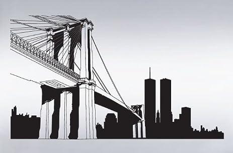 Vinyl wall art decal sticker nyc brooklyn bridge world trade center 334 custom size 15ft