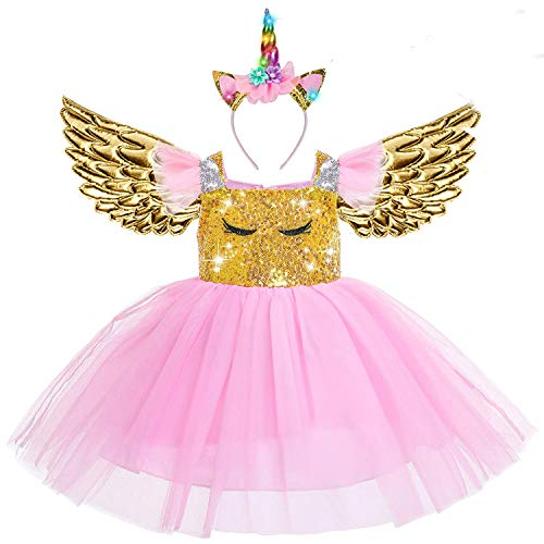 Beauta Unicorn Costume Cosplay Princess Dress up Birthday Pageant Party Dance Outfits Evening Gowns  (1-2 Years(Tag 90), Pink) ()