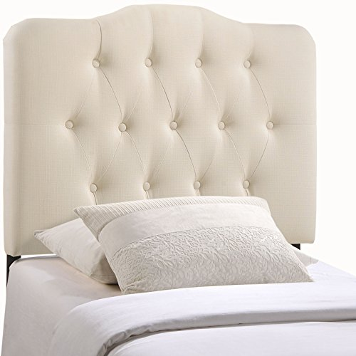 Modern Contemporary Twin Size Fabric Headboard, Ivory Fabric (Headboard Nail Studded)
