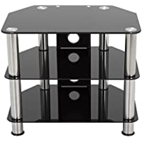 AVF SDC600CM-A  TV Stand with Cable Management for up to 32-inch TVs, Black Glass, Chrome Legs