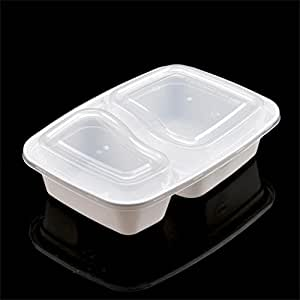 LoTop 2 Compartment Meal Food Boxes,BPA Free Bento Lunch Boxes Chinese Food Takeaway Containers Microwave Reheating Free Cutlery Cases.