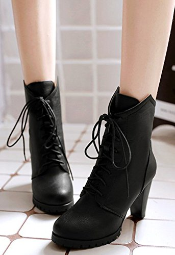 High Black Block Lace Up Booties Dressy Heel Easemax Round Ankle Toe Women's High wTfFqf