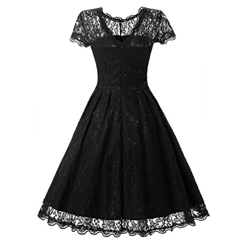 ManxiVoo Women's Vintage Floral Lace Short Sleeve Cocktail Skirt Lady Formal Party Swing Bridesmaid Dress Gown (M, Black) (Lace Panel Stand Collar)