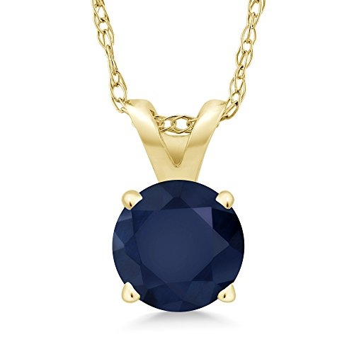 14K Yellow Gold Blue Sapphire Pendant Necklace (1.00 Ct Round; With 18