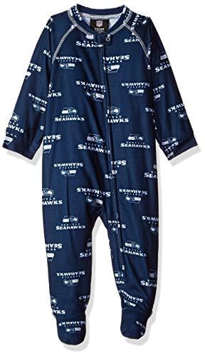 Outerstuff NFL Seattle Seahawks Newborn & Infant Raglan Zip Up Coverall Dark Navy, 0-3 Months -