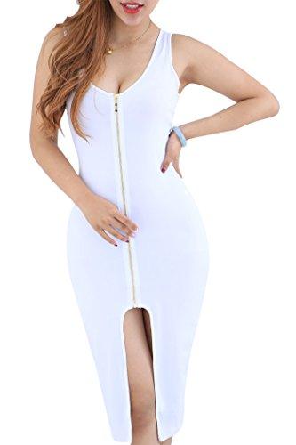 Blanc Midi Moulante Devant Femme Fendue Robe Fermeture S Robe YMING XXXXL Robe Sexy C7x8Xq