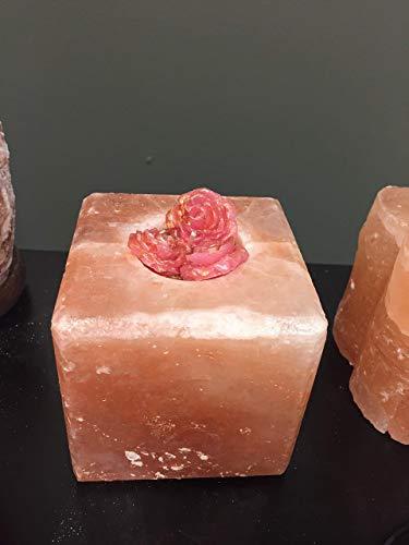 (Hand-cut Pure Natural Organic Himalayan Salt Candle Holder Pink Salt Cube Shape)