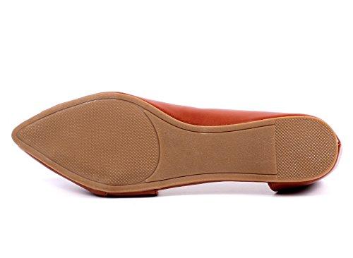 Casual Lady Side Strap Point Toe Moda Mujer Ballet Pisos Zapatos Nuevo Sin Caja Tan