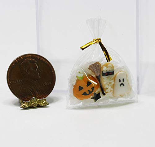 (Dollhouse Miniature 1:12 Scale Halloween Treat Bag Filled with Artisan Frosted)