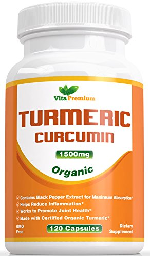 Turmeric Curcumin 1500mg with Black Pepper Extract - Organic Ingredient - 120 Veggie Capsules, Powerful Anti-Inflammatory & Antioxidants - Promotes Joint Health, Helps Reduce Pain and Inflammation