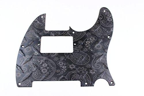 (Matte Black Humbucking Anodized Paisley Diamond Plate Aluminum Pickguard Fits Fender Tele Telecaster)