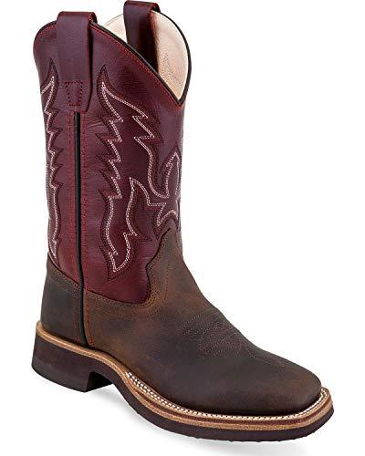 Old West Kids Boots Unisex Broad Square Toe Crepe (Toddler/Little Kid) Brown 2 M US Little Kid Crepe Kids Cowboy Boot