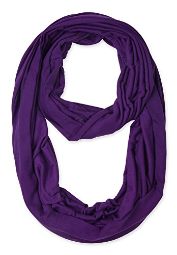 Corciova Light Weight Infinity Scarf with Solid Colors Purple