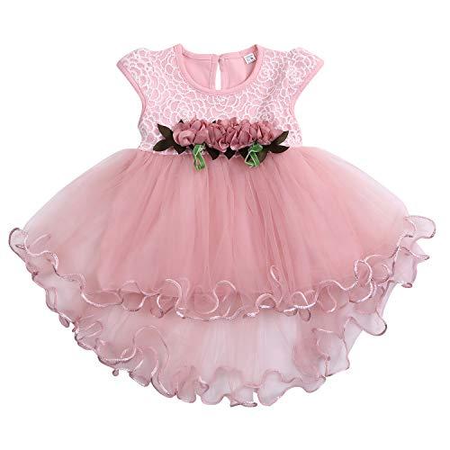 Toddler Baby Girls Party Dress Tulle Cap Lace Sleeveless Princess Tutu Wedding Skirt Outfit (Pink, 18-24M)